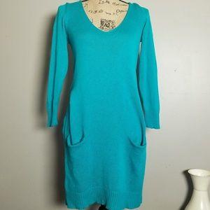 Express Wool Blend Teal OverSized Sweater Dress